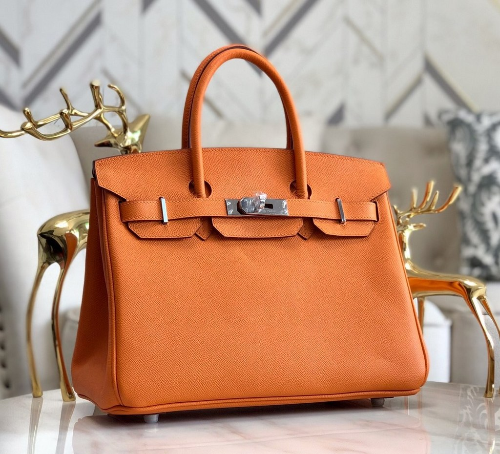 Hermes Birkin 30 Epsom Leather Bag H6088A Orange(Silver Hardware)