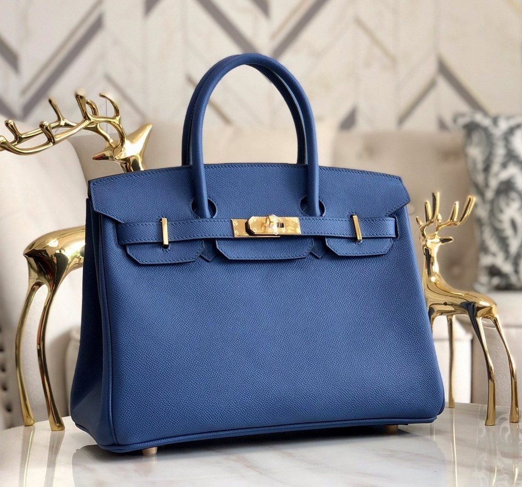 Hermes Birkin 30 Epsom Leather Bag H6088A Darkblue(Gold Hardware)