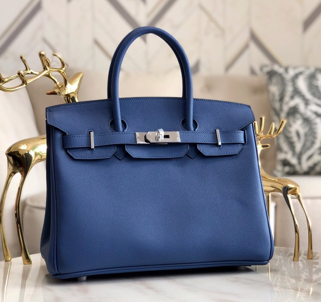 Hermes Birkin 30 Epsom Leather Bag H6088A Darkblue(Silver Hardware)