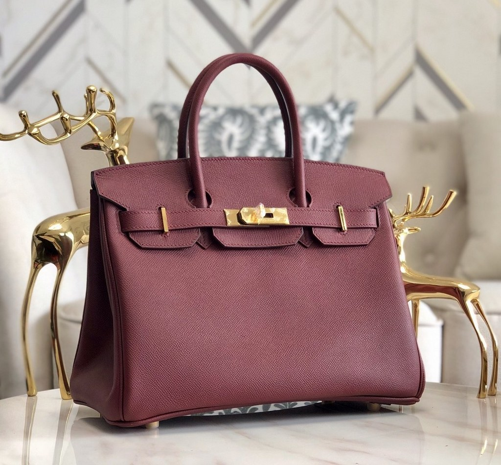 Hermes Birkin 30 Epsom Leather Bag H6088A Wine(Gold Hardware)