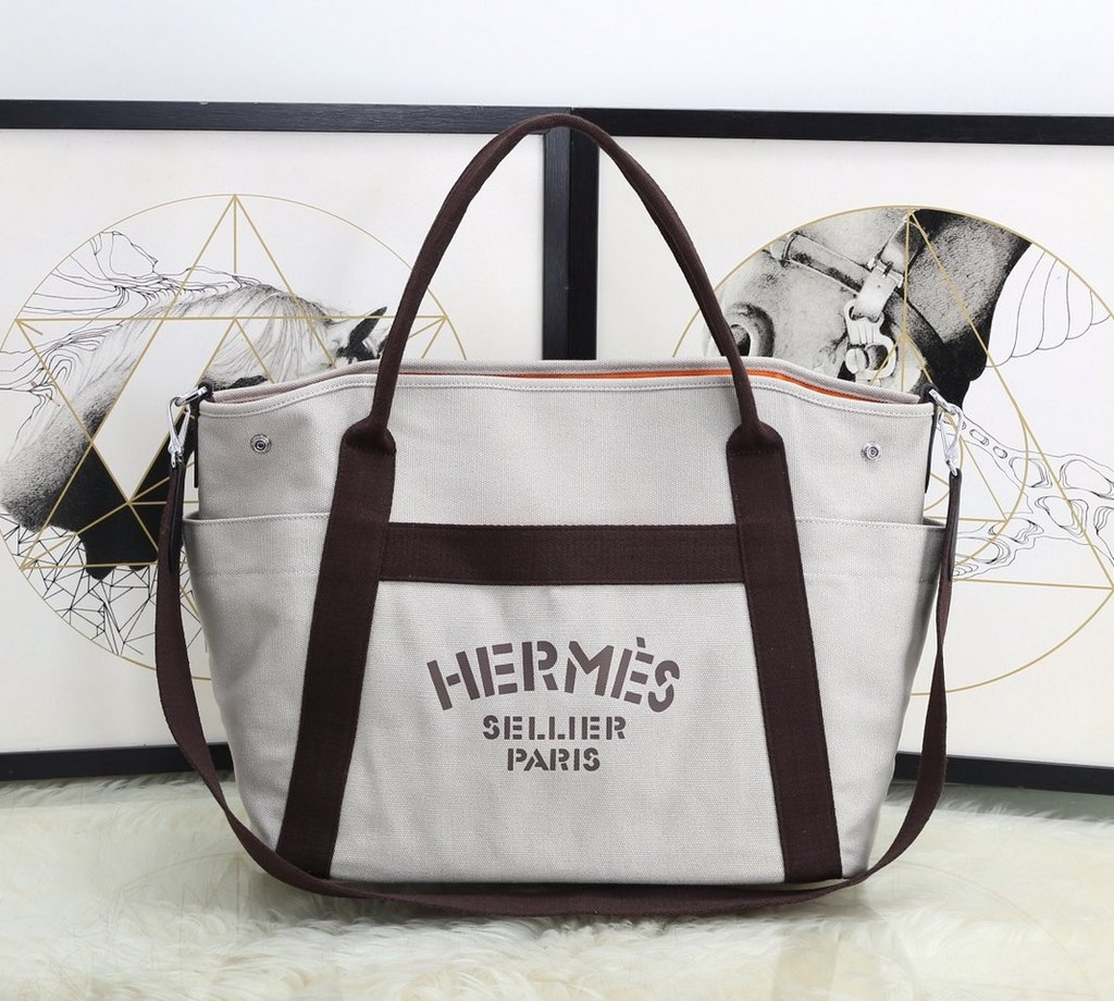Hermes Vintage Cavalier Canvas Tote Bag H5239 White