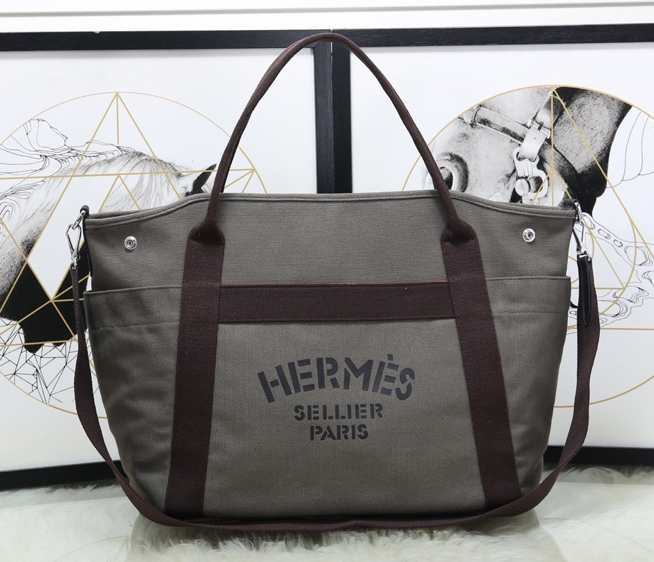Hermes Vintage Cavalier Canvas Tote Bag H5239 Grey
