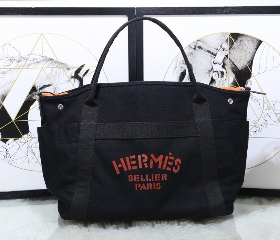Hermes Vintage Cavalier Canvas Tote Bag H5239 Black