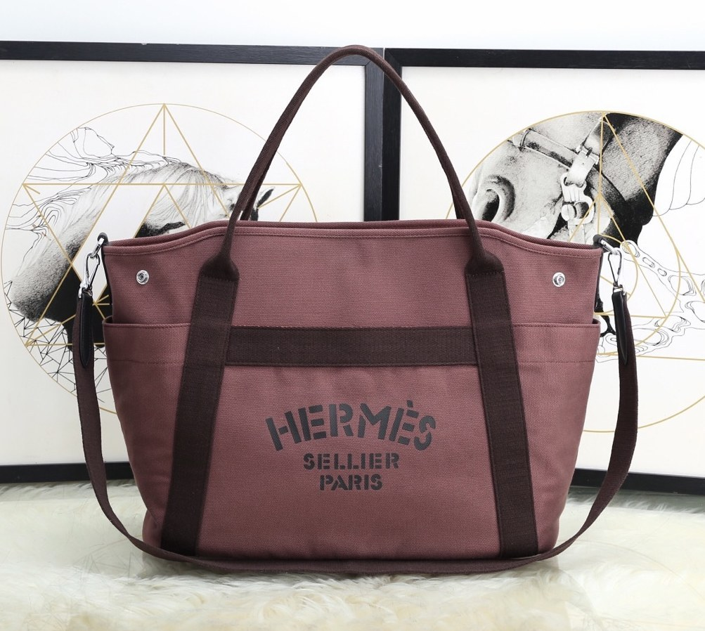 Hermes Vintage Cavalier Canvas Tote Bag H5239 Coffee
