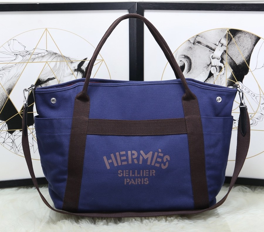 Hermes Vintage Cavalier Canvas Tote Bag H5239 Blue