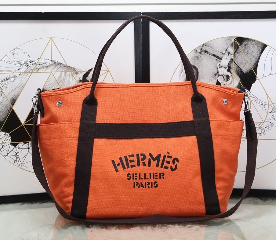 Hermes Vintage Cavalier Canvas Tote Bag H5239 Orange