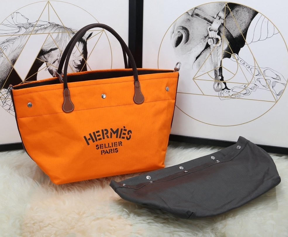 Hermes Vintage Cavalier Canvas Tote Bag H5240 Orange