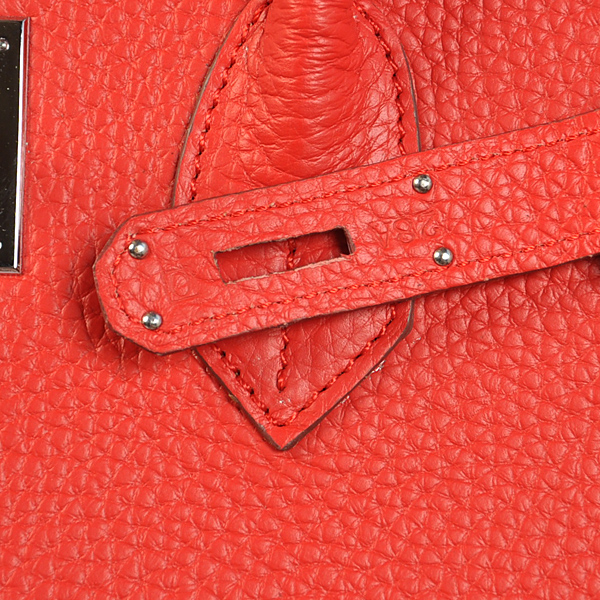 Authentic Hermes Birkin 35CM Togo Leather Bag H8998 Red(Silver Hardware)