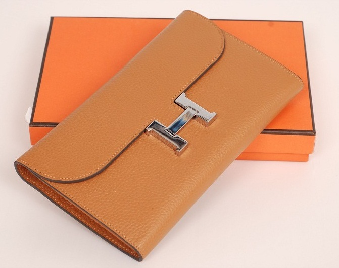 Hermes Bearn Togo Leather Wallet H568 Light Coffee