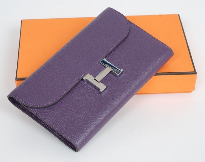 Hermes Bearn Togo Leather Wallet H568 Purple