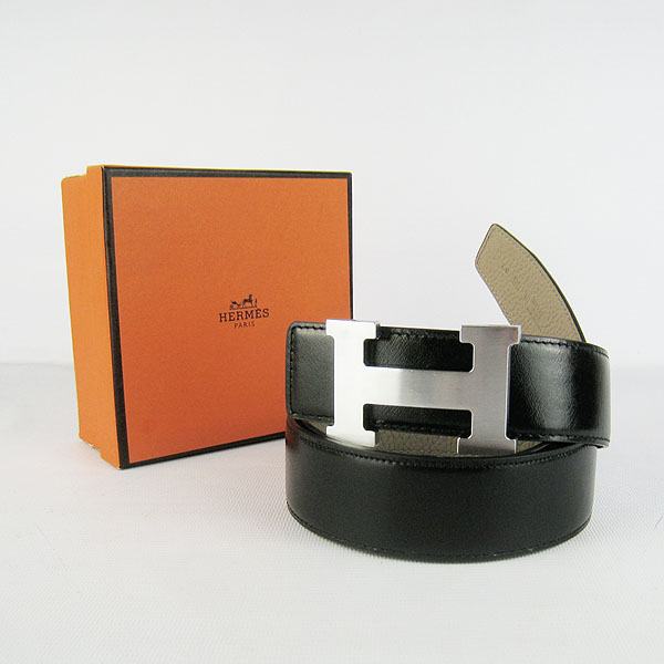 Hermes Original Leather Silver H Buckle Reversible Belt H361 Black&Grey