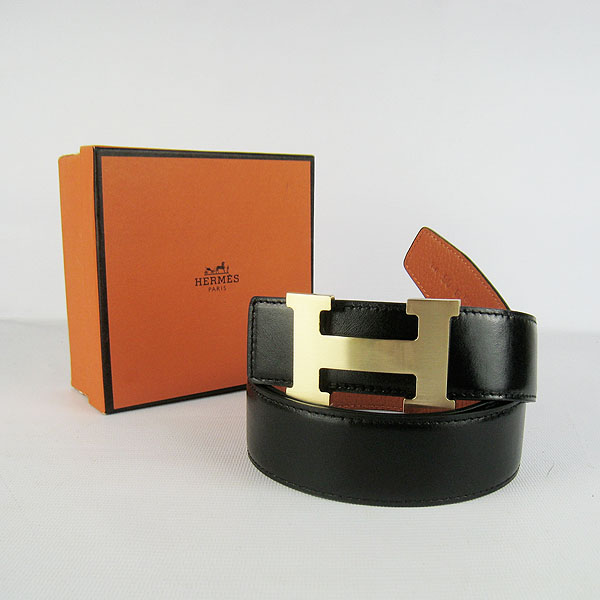 Hermes Original Leather Gold H Buckle Reversible Belt H361 Black&Orange
