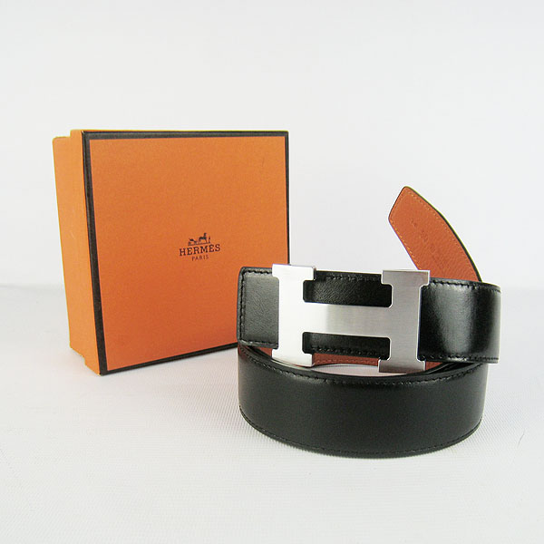 Hermes Original Leather Silver H Buckle Reversible Belt H361 Black&Orange