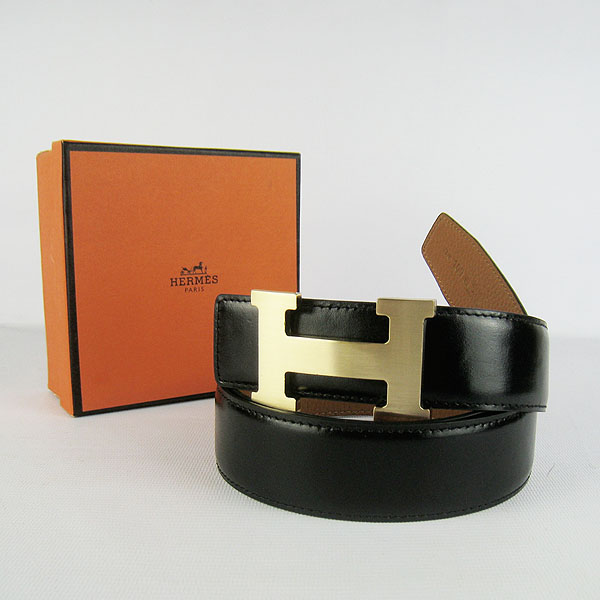 Hermes Original Leather Gold H Buckle Reversible Belt H361 Black&Light Coffee
