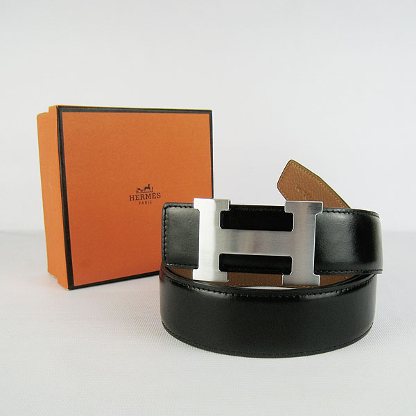 Hermes Original Leather Silver H Buckle Reversible Belt H361 Black&Light Coffee