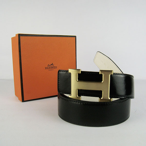Hermes Original Leather Gold H Buckle Reversible Belt H448 Black&White
