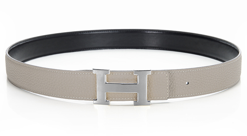 Hermes Original Leather Reversible Belt H0321-1 Etoupe /Black