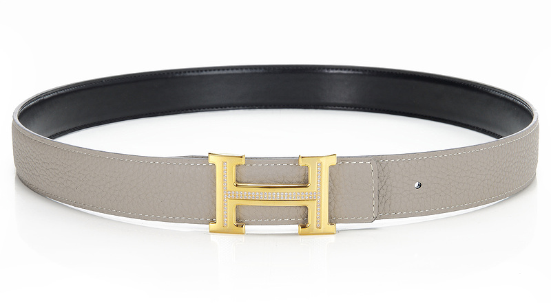 Hermes Original Leather Reversible Belt H0321-2 Etoupe /Black