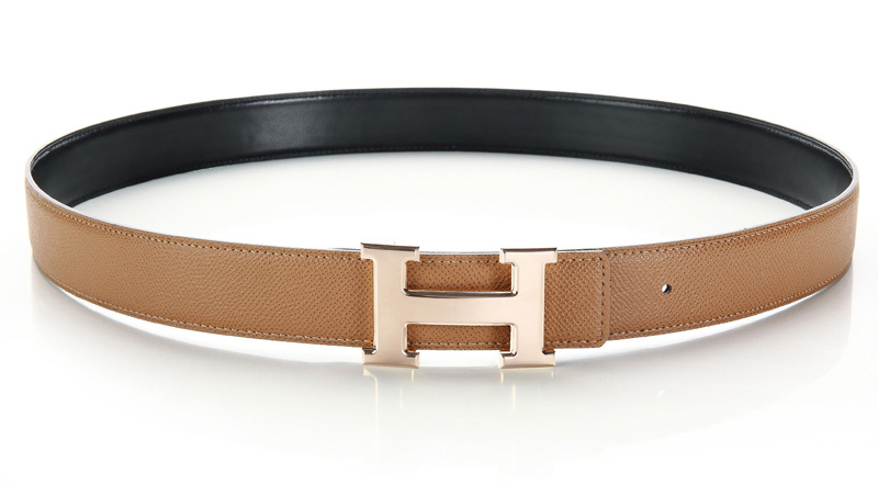 Hermes Palmprint Leather Belt H0356-1 Wheat/Black