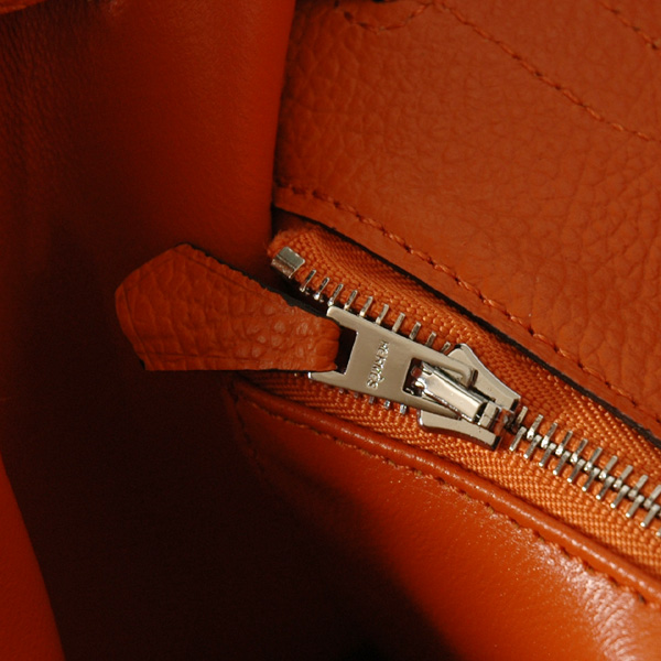Hermes Kelly 32CM Clemence Leather Bag 6108 Orange(Silver Hardware)