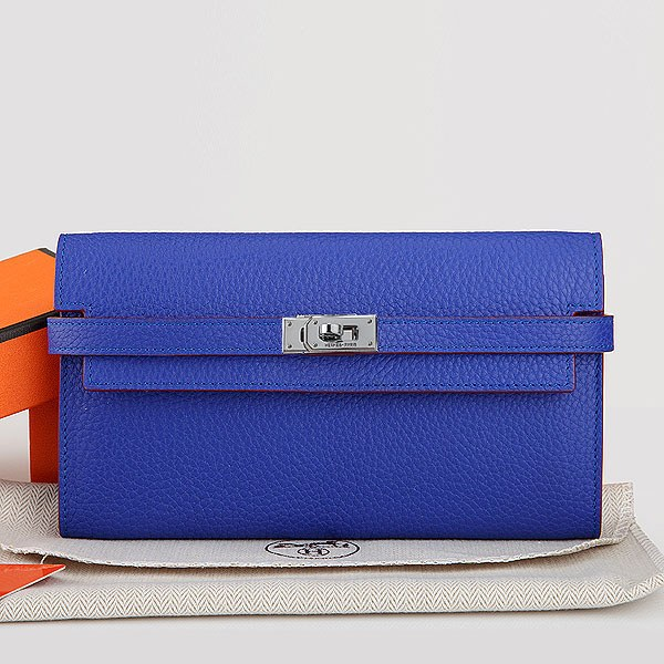 Hermes Kelly Togo Leather Long Wallet H7709 Fluorescent Blue