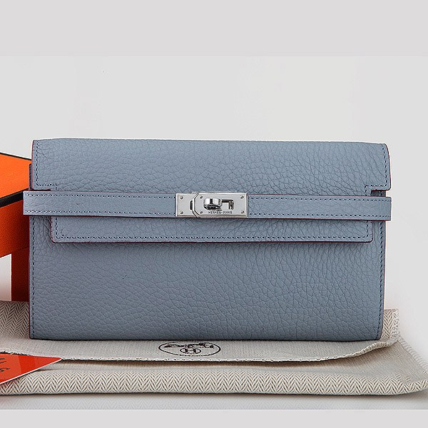 Hermes Kelly Togo Leather Long Wallet H7709 Skyblue