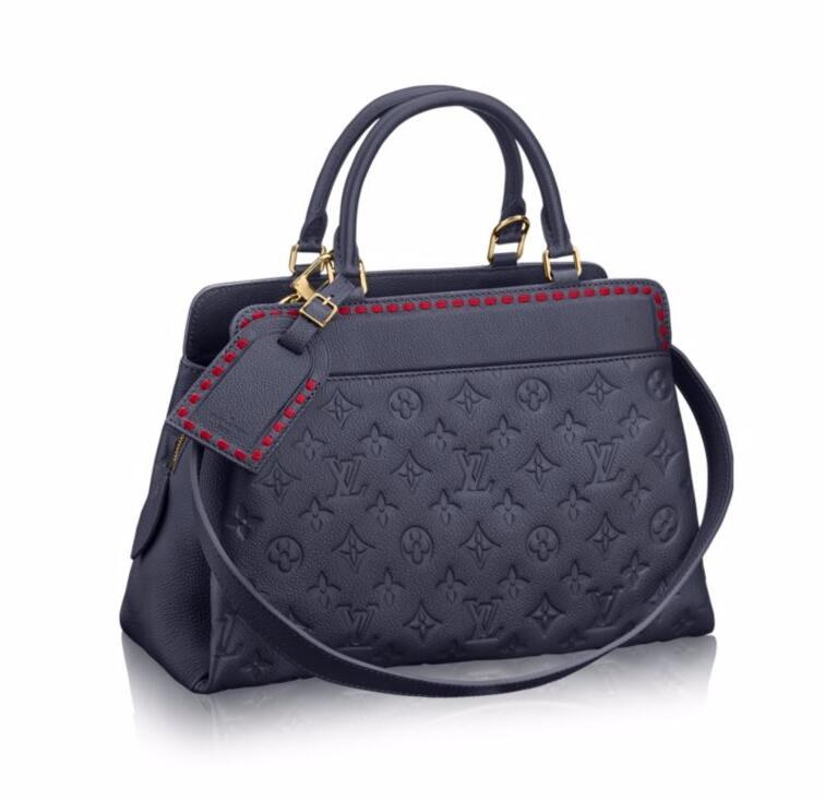 Louis Vuitton Monogram Empreinte Vosges MM M43738 Marine Rouge