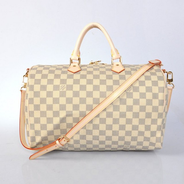 Louis Vuitton Damier Azur Speedy 35 With Shoulder Strap Bag N40392