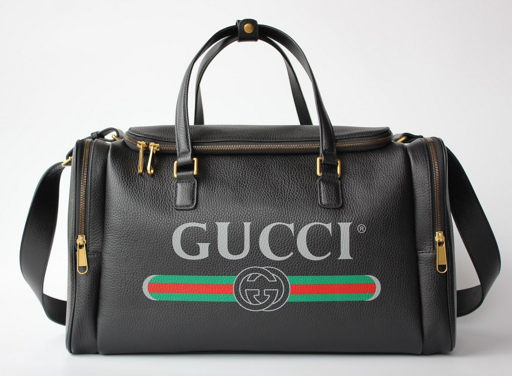 Gucci Print leather Carry-on Duffle 547838 Black