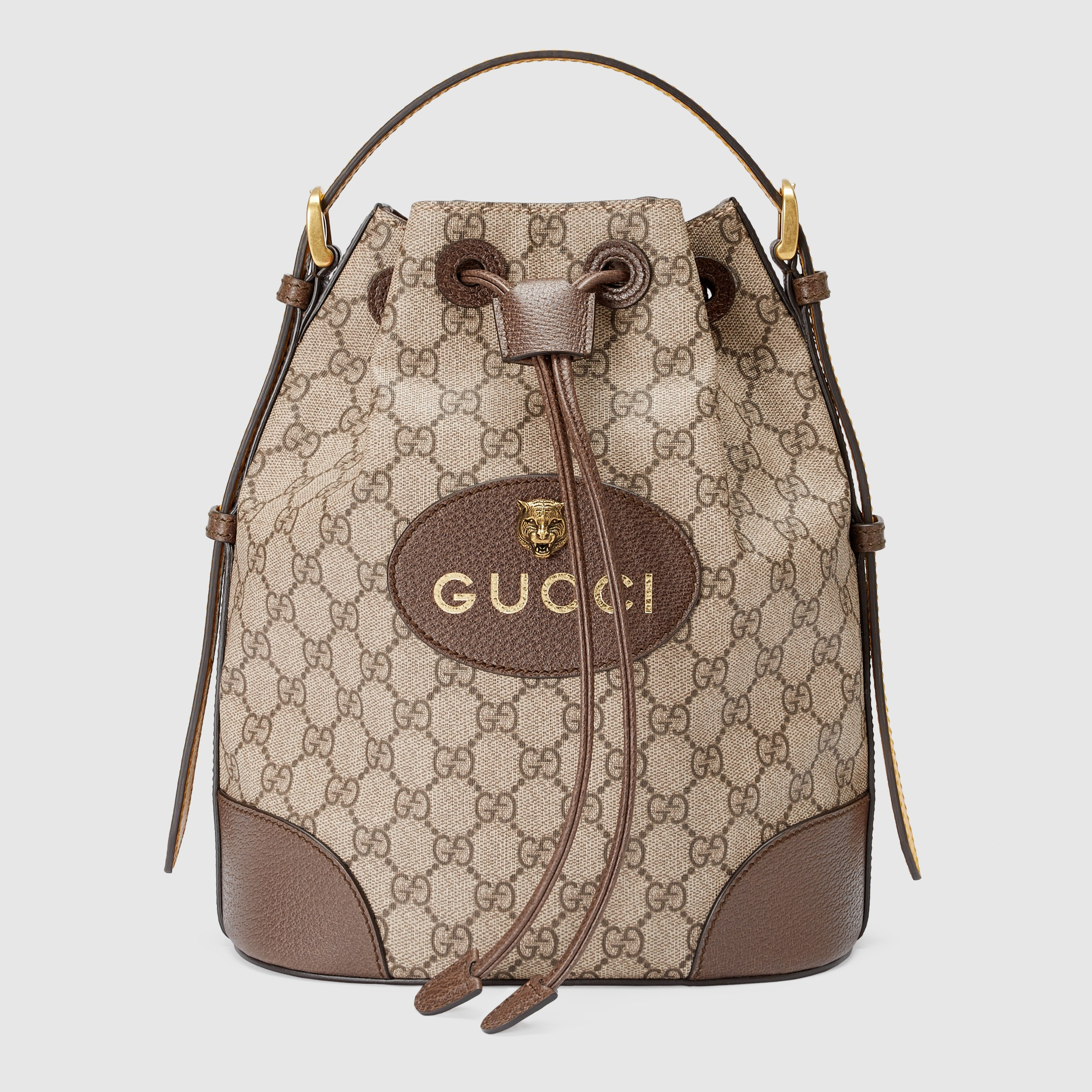 Gucci Neo Vintage GG Supreme Backpack 473875 Brown Leather