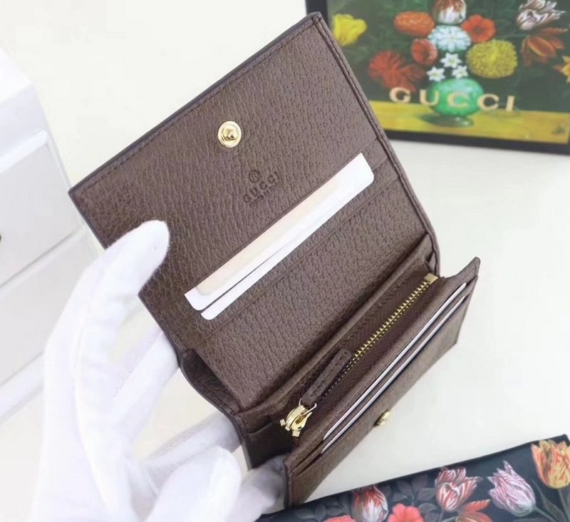 f019a6d14973 Gucci Ophidia GG Card Case 523155 Brown Leather Trim [523155 Brown ...