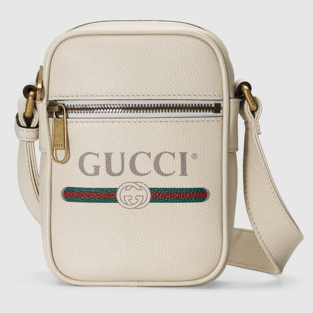 Gucci Print Leather Shoulder Bag 574803 White