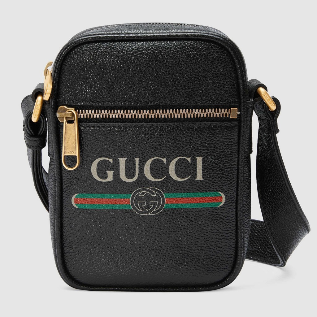 Gucci Print Leather Shoulder Bag 574803 Black