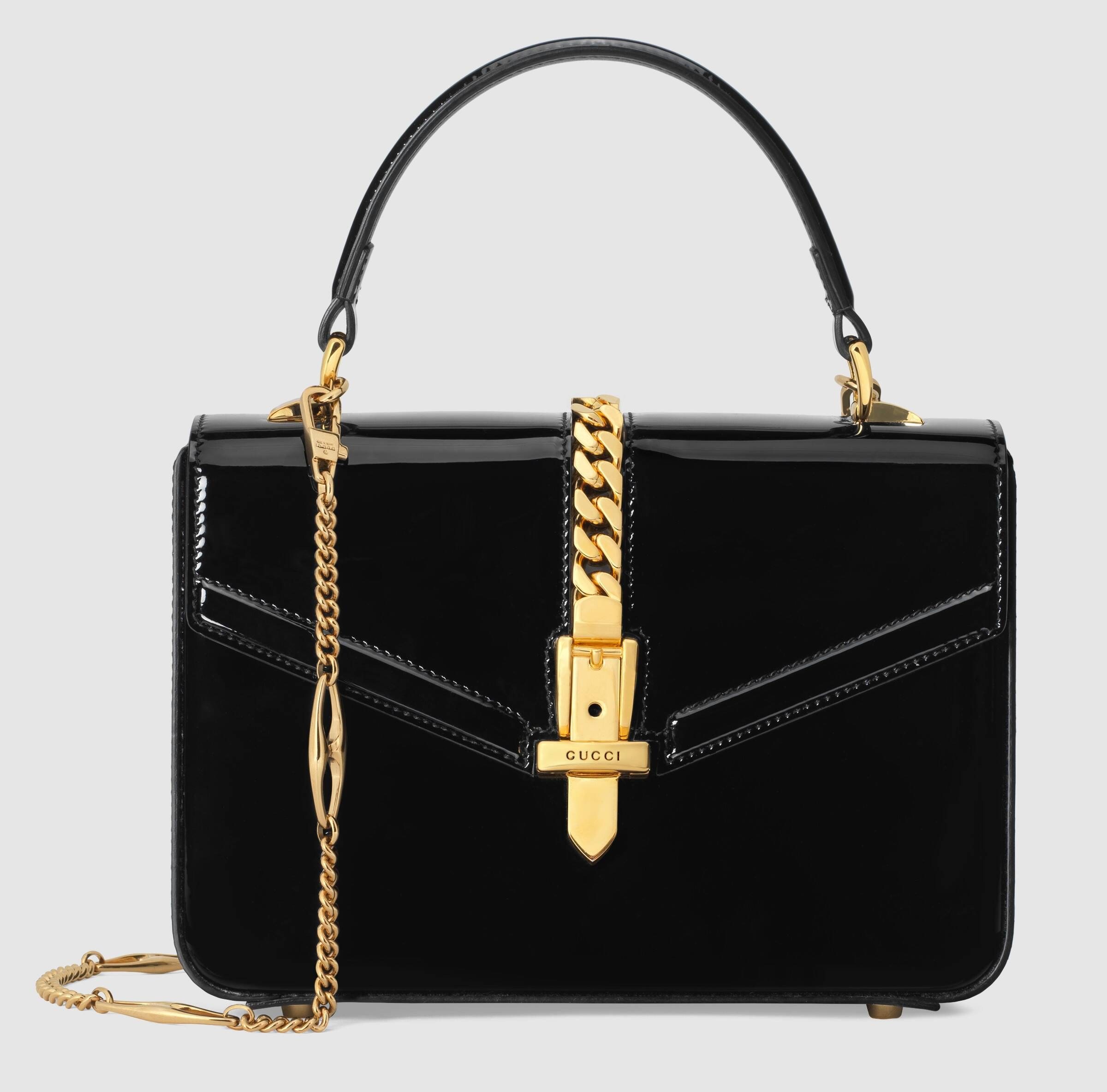 Gucci Sylvie 1969 Patent Leather Mini Top Handle Bag 589479 Black