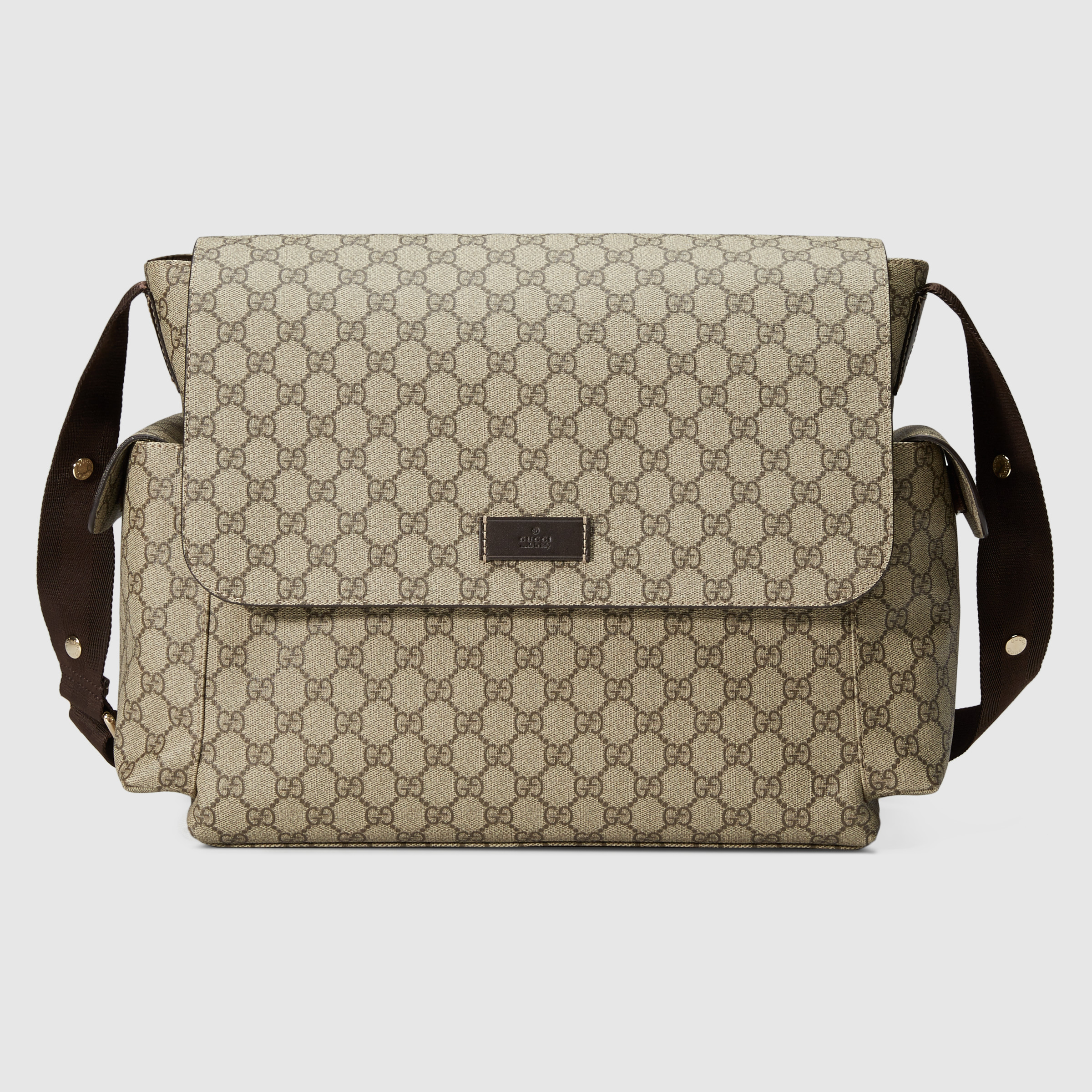 Gucci GG Supreme Baby Changing Bag 211131 Brown Leather
