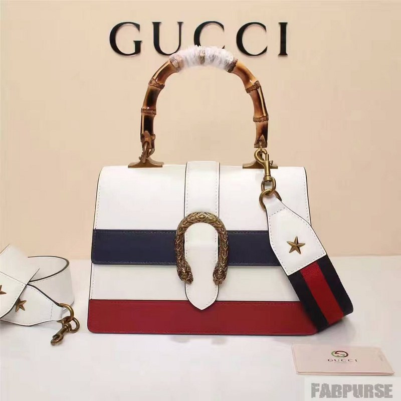 Gucci Dionysus Leather Top Handle Bag 448075 White