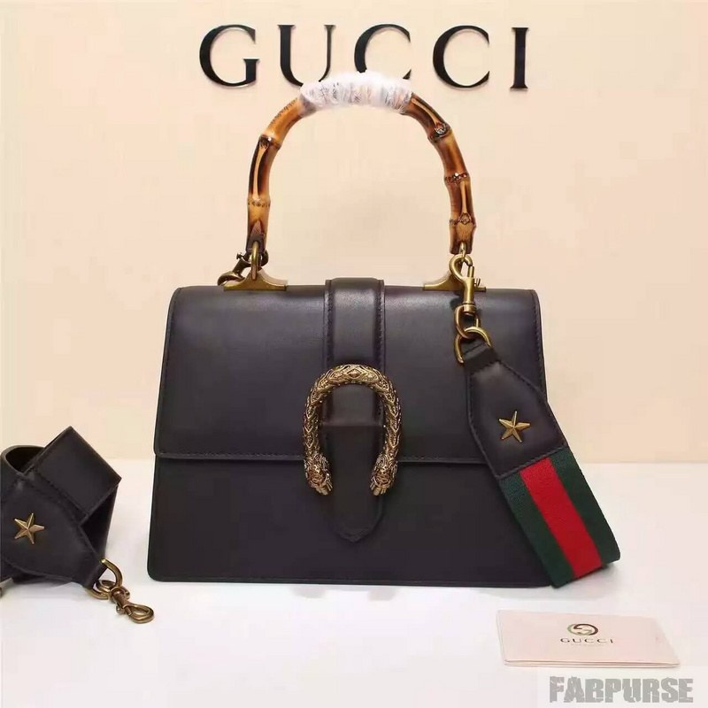Gucci Dionysus Leather Top Handle Bag 448075 Black