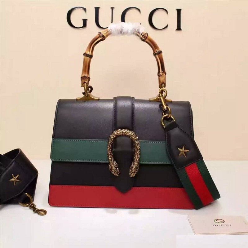 Gucci Dionysus Leather Top Handle Bag 448075 Black/Red