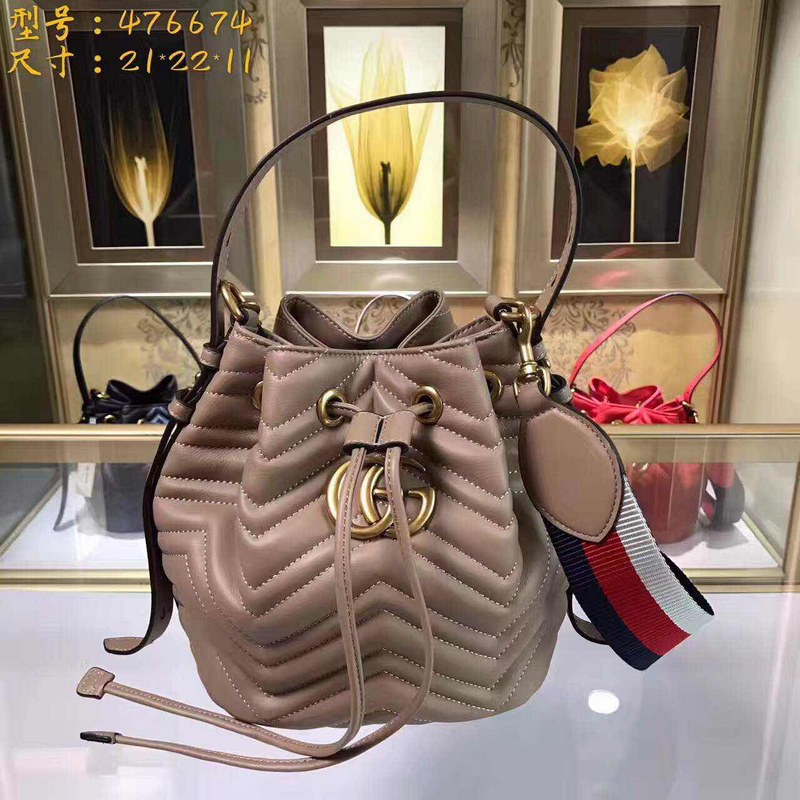 Gucci GG Marmont Quilted Leather Bucket Bag 476674 Beige