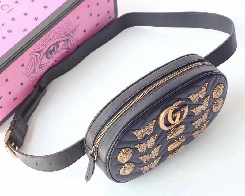 7becf1c4b8d2 Gucci GG Marmont Animal Studs Leather Belt Bag 491294 Black [491294 ...