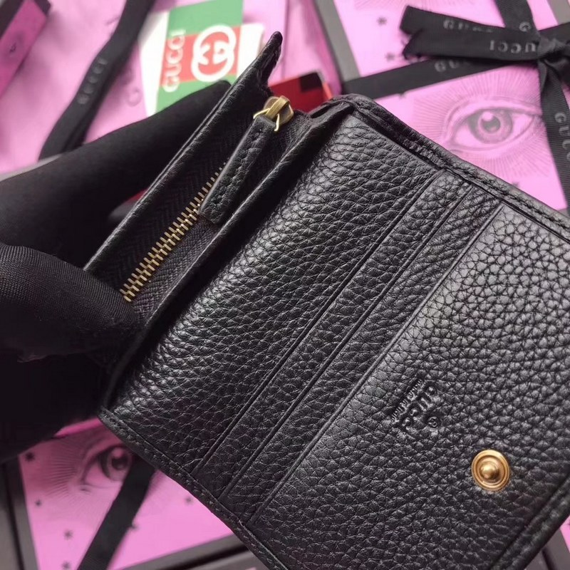 Gucci Leather Card Case with Butterfly 499361 Black  499361 Black ... b0ea798f76a