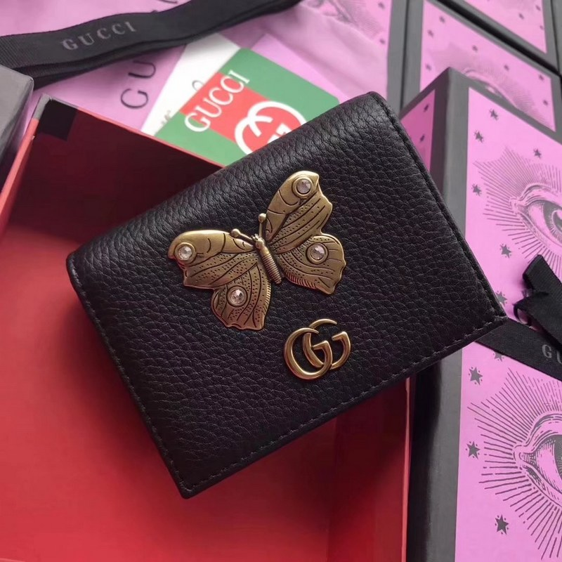 meet 4dc27 bbf03 Gucci Leather Card Case with Butterfly 499361 Black [499361 Black ...
