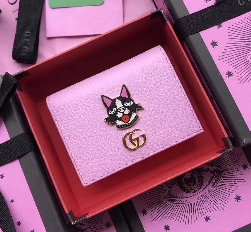 Gucci Leather Card Case with Bosco 499325 Pink