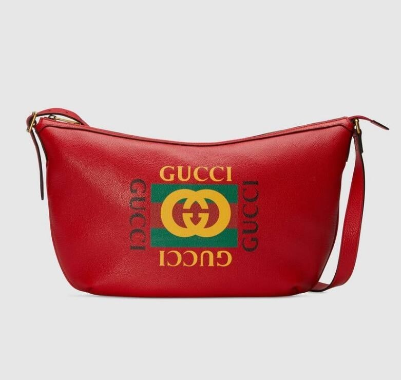 Gucci Print Half-moon Hobo Bag 523588 Hibiscus red