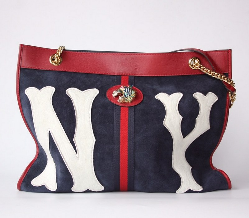 c4d6c8e84e7a85 Gucci Rajah NY Yankees Patch Large Tote 537219 Dark Blue