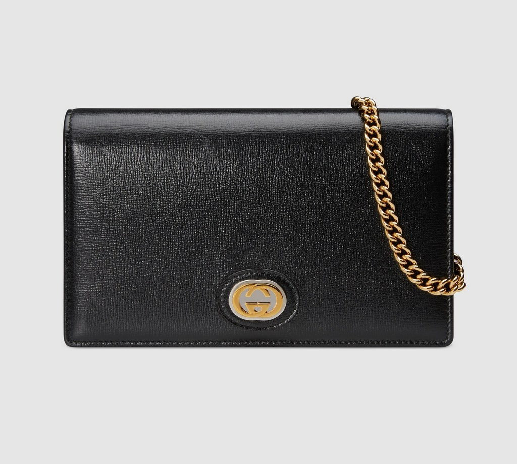Gucci Leather Chain Card Case Wallet 598549 Black
