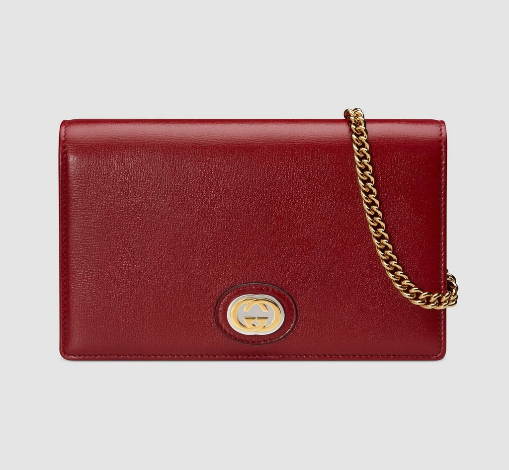 Gucci Leather Chain Card Case Wallet 598549 Red