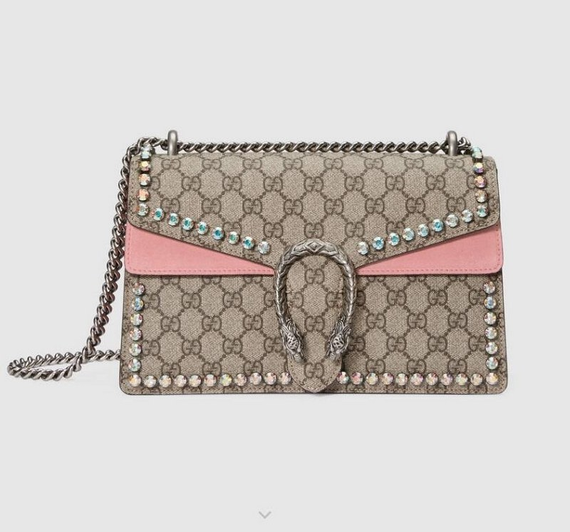 Gucci Dionysus GG Small Crystal Shoulder Bag 400249 Light Pink Leather