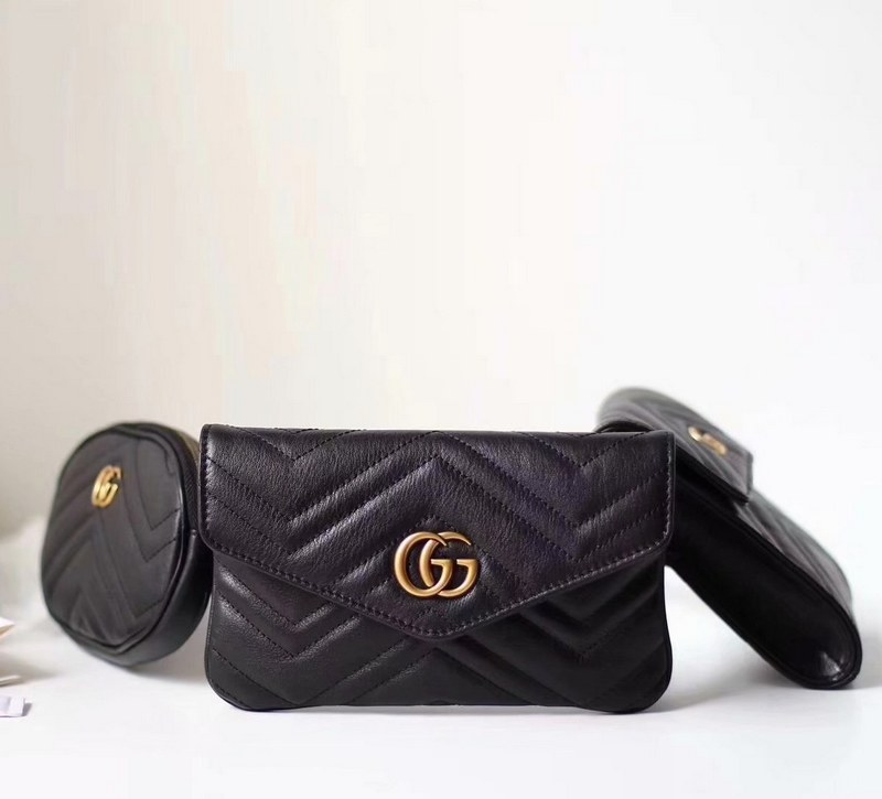 Gucci GG Marmont Matelasse Belt Bag 524597 Black
