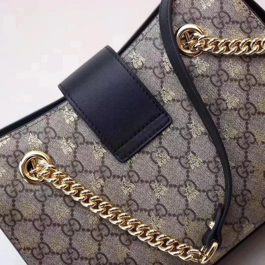 ae9ea85c6877 Gucci Padlock Small Gg Bees Shoulder Bag 498156 Coffee | Stanford ...